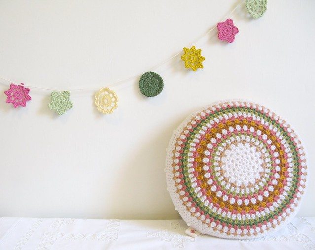 Gladys, folk circle crochet cushion by Emma Lamb