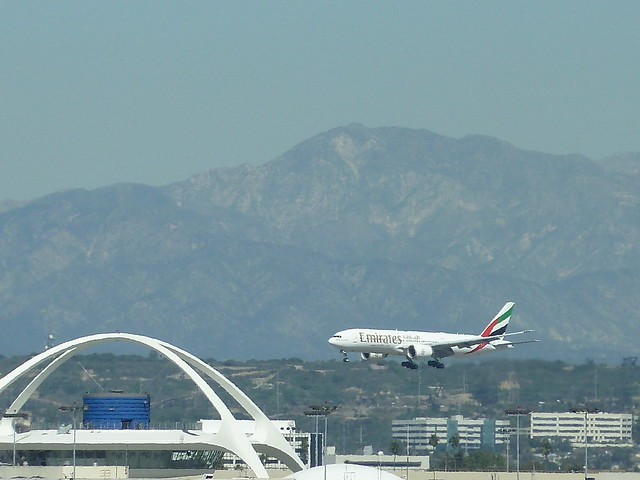 Emirates Airlines jet seconds away from land at LAX