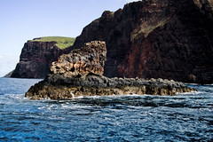 water, cape, sea, ocean, island, body of water, formation, geology, wave, shore, terrain, stack, coast, rock, cliff,