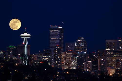 Super Moon Superimposed on Seattle