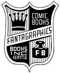 Fantagraphics Books logo - shield emblem by Daniel Clowes