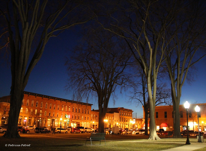 Blue Hour from The Courthouse Lawn ~ Downtown Howell, Michigan