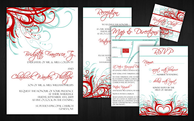 Aqua Tiffany Blue and Red Wedding Invitations