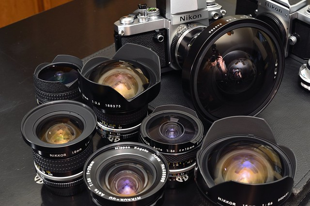 The whole short  nikon nikkor family 8mm 15mm 16mm 18mm 20mm