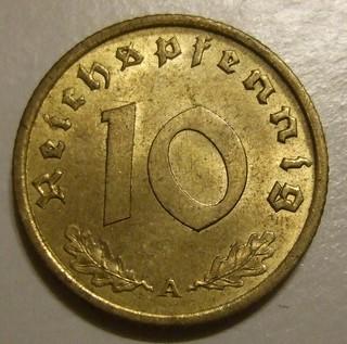 GERMAN REICH, 1939 ---10 REICHSPFENNIG a