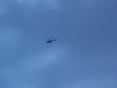 Army Helicopter over People in Tahrir Square