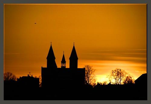city sunset church denmark viborg viborgdomkirke perkriz