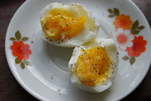 Soft boiled eggs crudely cut