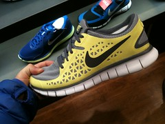 cross training shoe, sneakers, footwear, yellow, white, nike free, shoe,