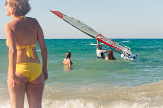 Image de Thalassa Club Plage d'une longueur de 1194 mètres. sea woman ass beach girl wave greece crete mediterranian kriti amoudara yellowbikini windserfing ammoudara