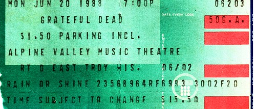 Grateful Dead ticket for June 20, 1988