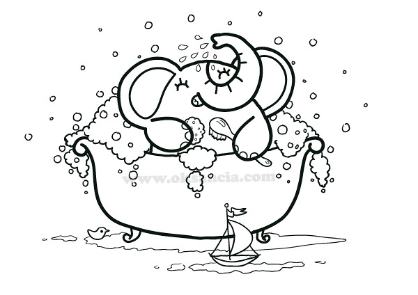 Bath Time coloring page from Rondy the Elephant First