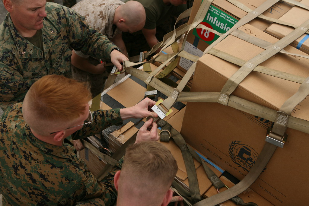 Marines working to secure supplies | MARINE CORPS AIR STATIO