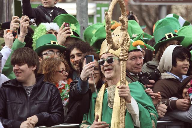 San Patrizio alle sfilate per il St. Patrick's day a Dublino Irlanda