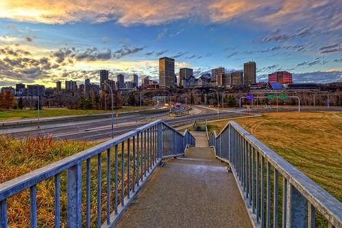 edmonton alberta canada skyline downtown lowlevelbridge stairs walkway sky sunset clouds autumn railing galvanized hdr photomatix nikond2x nikkor1024mm nikkor