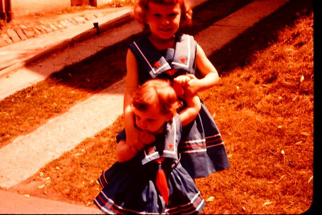 1958 vintage photo 35MM slide 1950s kids fashions summer dresses