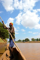 Crossing the Omo River deep in Southern Ethiopia just 15km from the Kenyan border photographed by Susan Wong