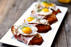 Caramelised Fennel, Serrano Ham and Fried Quail Egg Brunch Bruschetta