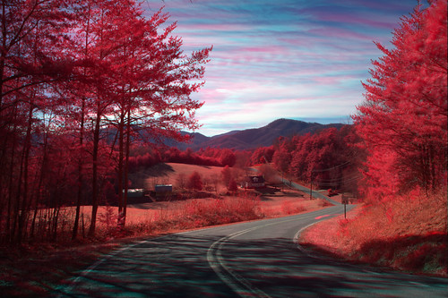 trees sky mountains rural landscape spring scenic northcarolina infrared