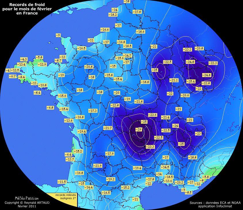 records de froid des températures minimales pour le mois de février en France Reynald ARTAUD météopassion