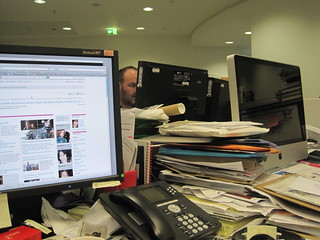 Xan Brooks will be live blogging the Oscars 2011 action all night long. We bury him in office detritus to keep him here until best picture.