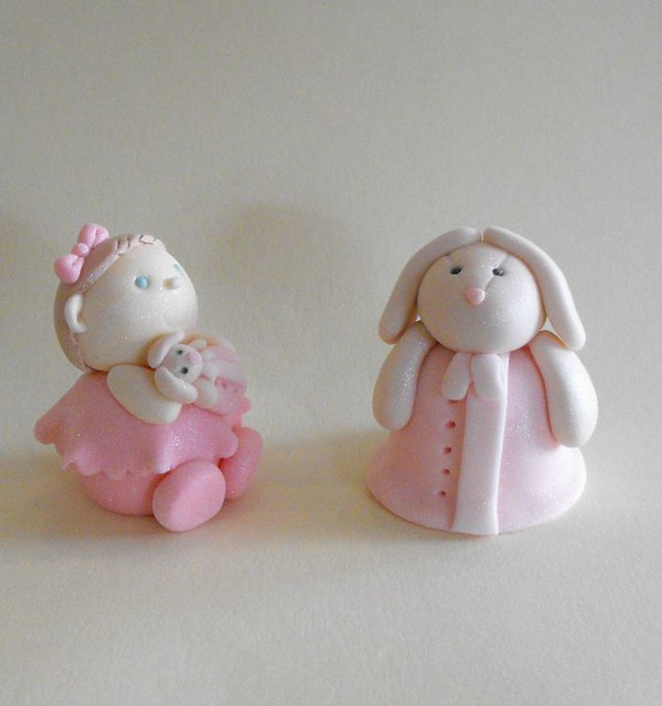 Cake Toppers Baby Girl : Baby Girl And Her Bunny Fondant Cake Toppers Flickr ...