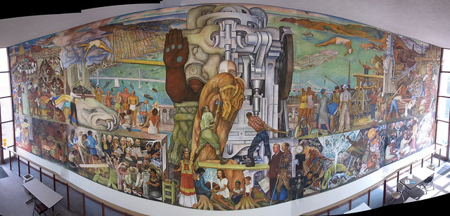 Diego rivera 39 s pan american unity mural city college sf for Diego rivera first mural
