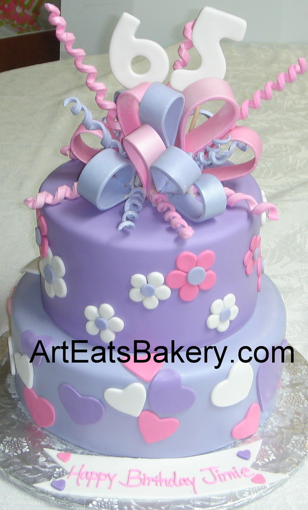 Two Tier Purple Pink And White Fondant Hearts Flowers 65th Birthday Cake With Sugar