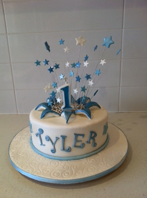 By Cakes And More Blue White 1st Birthday Explosion Cake