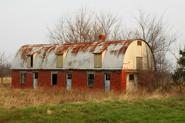 Red Brick Barn With Round Metal Roof Flickr Photo Sharing