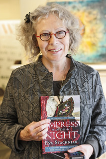Eva Stachniak poses with a copy of her book, Empress of the Night
