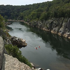Kayakers on Mather Gorge just downriver of Great Falls, Maryland. Good way to spend the last day of summer. Photo taken from Billy Goat Trail A. --------------------------------------- #outdoors #outdoor #nature #summer #river #potomac #sport #kayak #kaya