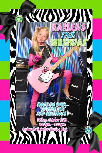 Zebra Neon Turquoise Lime Green Hot Pink Birthday Invitation
