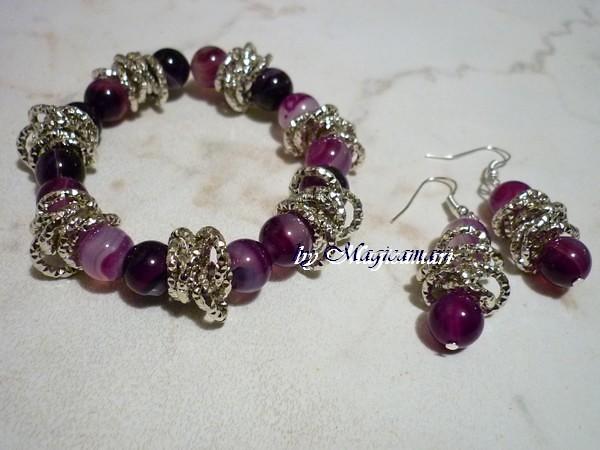 orecchini con agate sfumate viola e catena diamantata argento ...