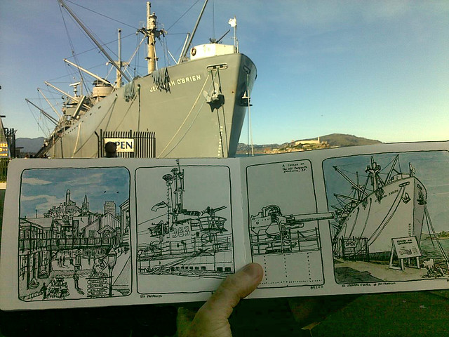 sketching at fisherman's wharf