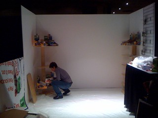 Setting up the Boom Boom! Cards booth #6073 at the Toy Fair 2011 #TF11