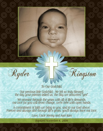 Turquoise Lime Green Brown Baptism Christening Invitation