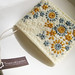 Hand Embroidered Flower Bed Felt Card Holder-Blue & Mustard Yellow