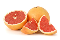 orange(0.0), plant(0.0), tangelo(0.0), tangerine(0.0), grapefruit(1.0), citrus(1.0), blood orange(1.0), produce(1.0), fruit(1.0), food(1.0),