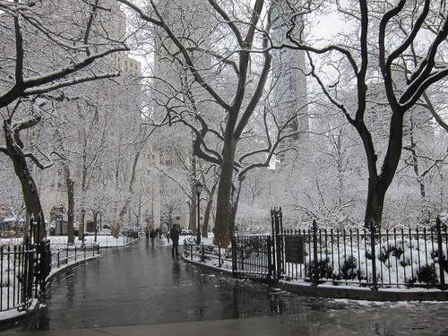 Madison Square Park under the snow, NYC. Nueva York