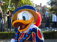 Meeting Mardi Gras Donald Duck at Jamalaya Jazz Calvacade at Disneyland's Mardi Gras