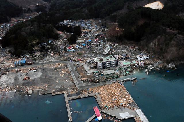 Aerial view of damage to Wakuya, Japan following earthquake.