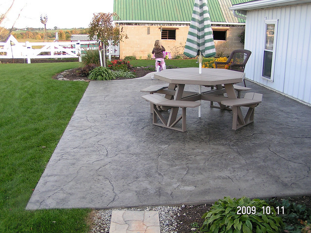 Stamped concrete patio by swiss village concrete flickr photo sharing - Concrete backyard design ...