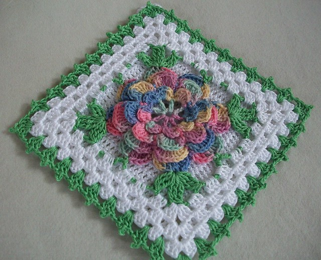 Crochet Thread Rose Pattern Free : Crochet Potholder in Thread with Pastel Rose Flower ...
