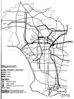 Preliminary Rapid Transit Routes for Los Angeles (1971)