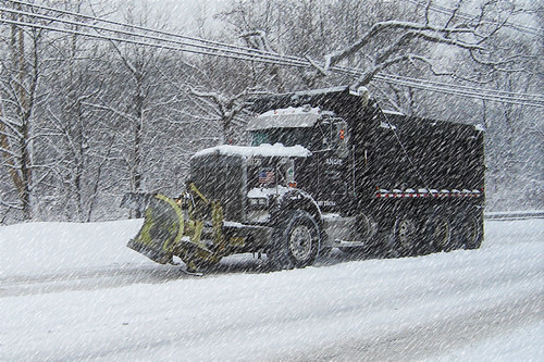 KW Dump Truck Snow Plow on River Road