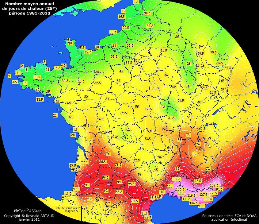 nombre moyen annuel de jours avec chaleur (25°) en France pour la période 1981-2010
