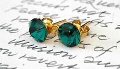Swarovski Earrings Emerald Gold Round Diamonds