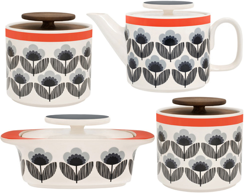 Orla Kiely's Poppy Meadow kitchen collection in blue