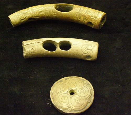 Bone and antler Bronze Age objects with Mycenaean ornaments